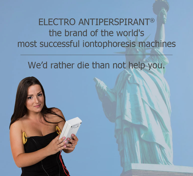 ELECTRO ANTIPERSPIRANT® the brand of the world's most successful iontophoresis machines